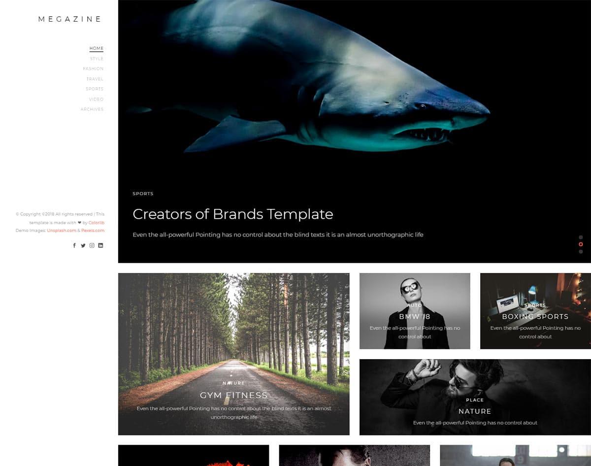 free simple website template - megazine