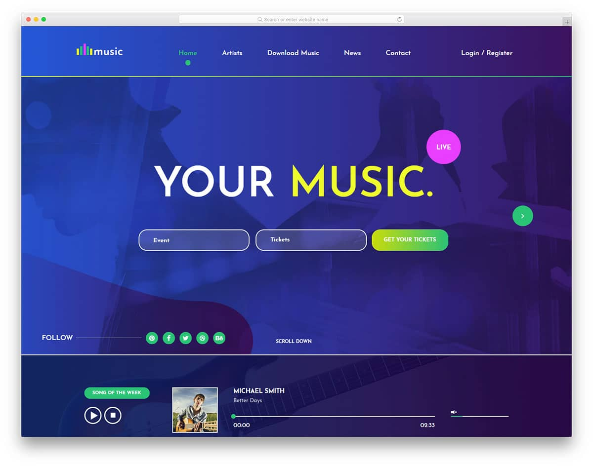 music-free-entertainment-website-templates