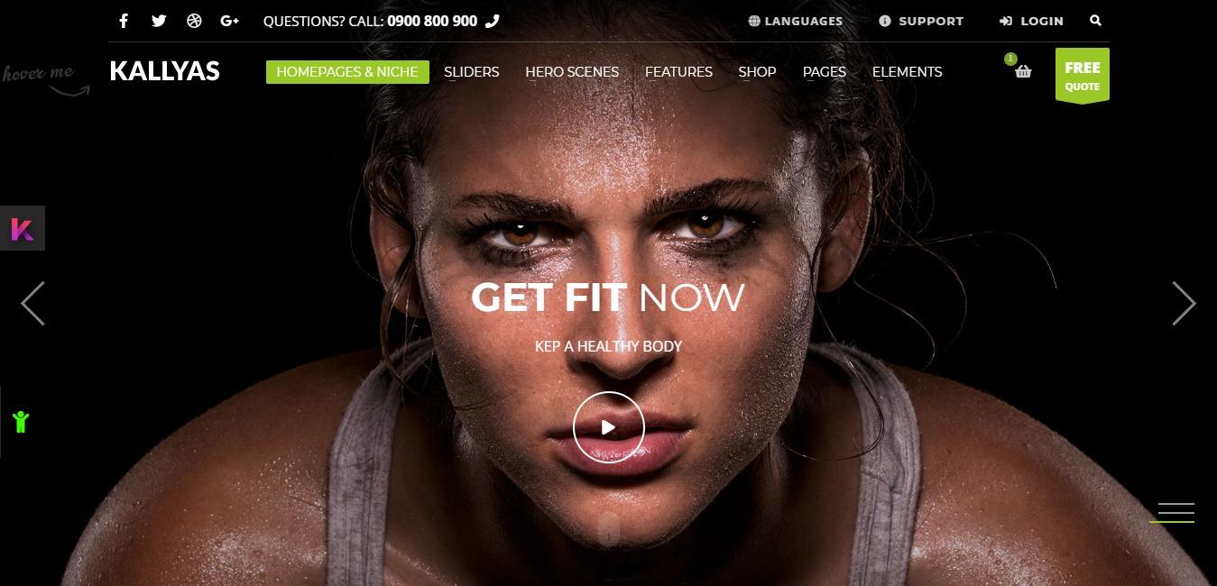 Kallyas Gigantic Premium Template Gym Homepage
