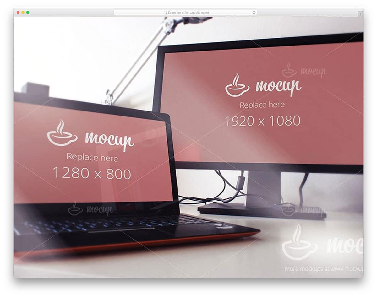 Screens-PSD-Mockup-Black&White-computer-mockups