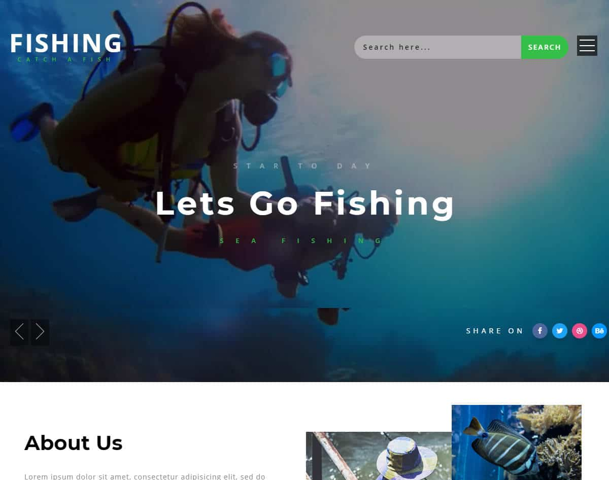 bootstrap website template with video background - fishing