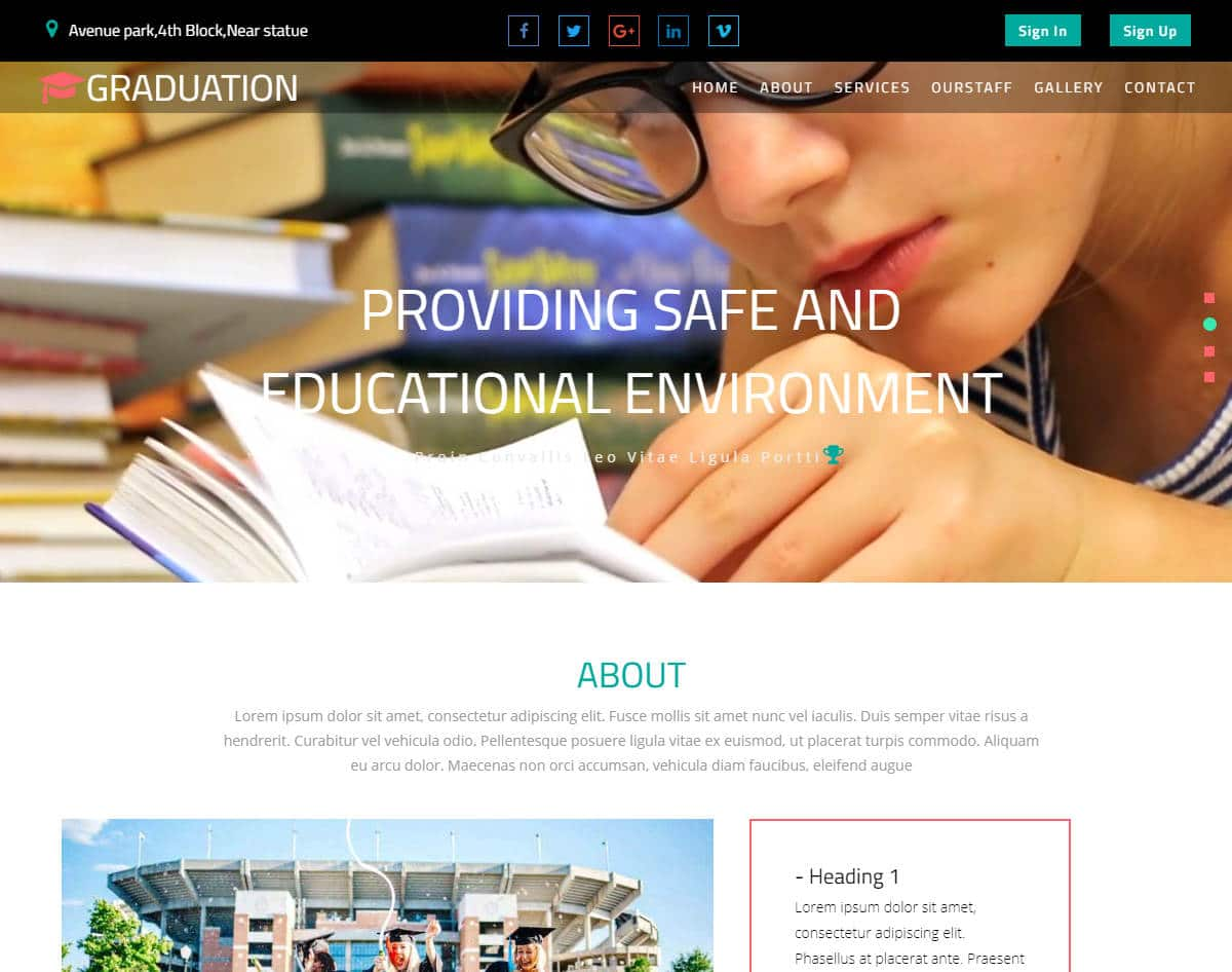 bootstrap website template with video background - graduation