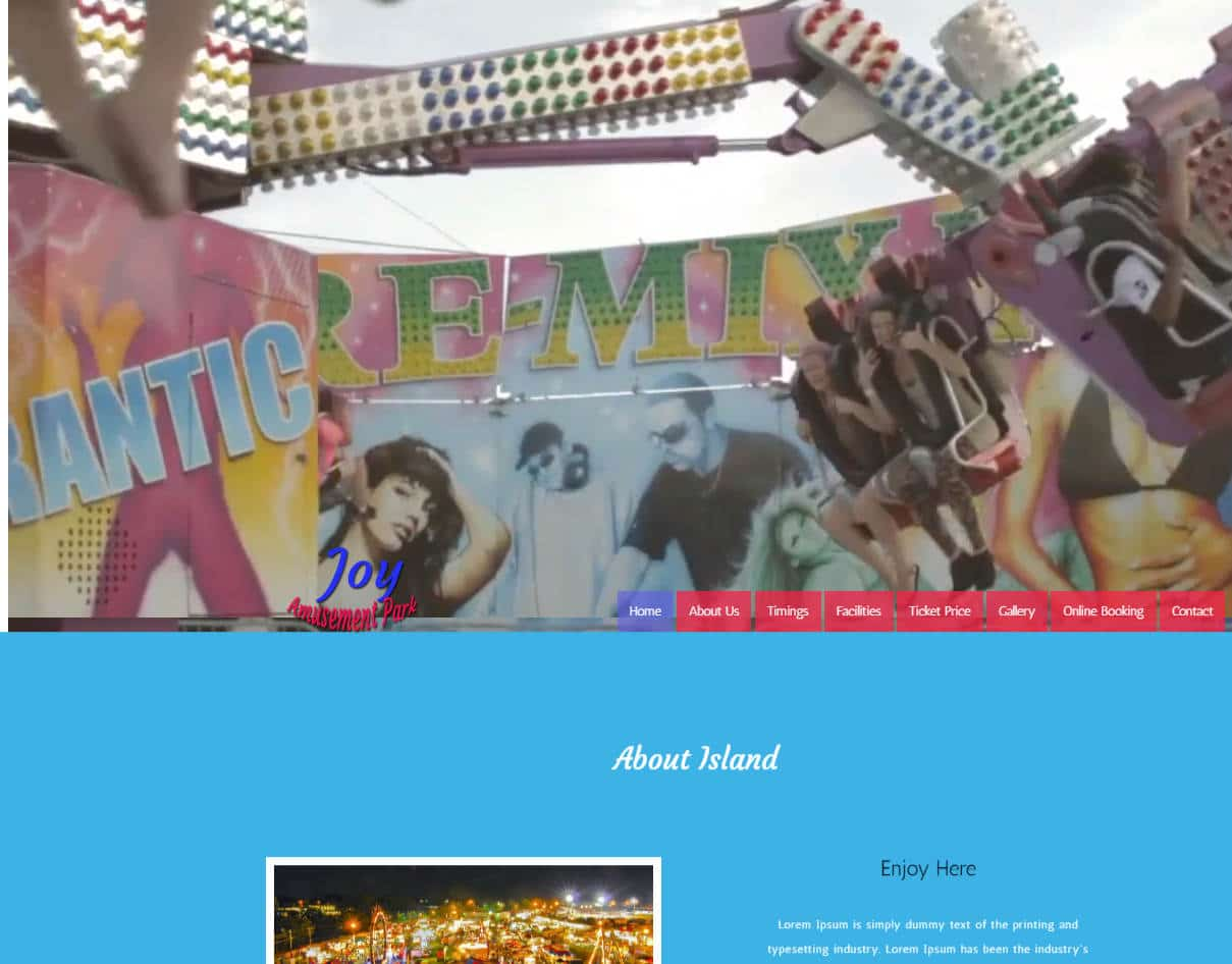 bootstrap website template with video background - joy amusement park