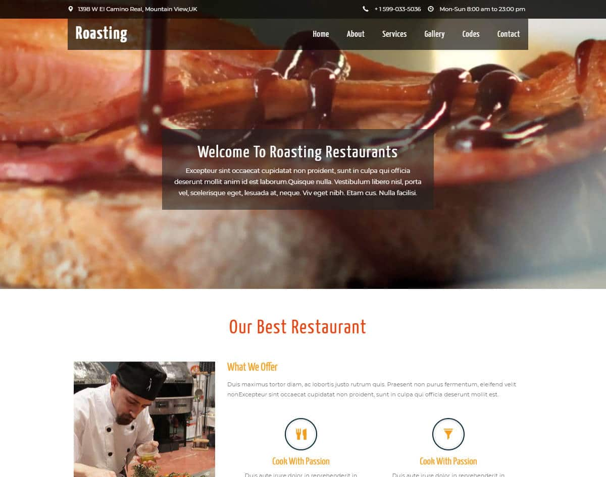 bootstrap website template with video background - roasting