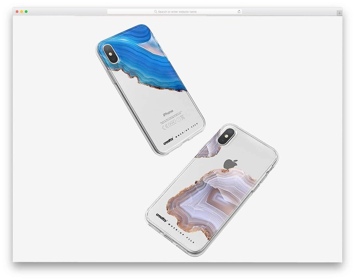 iPhone-X-clear-case-mockup-set-silver