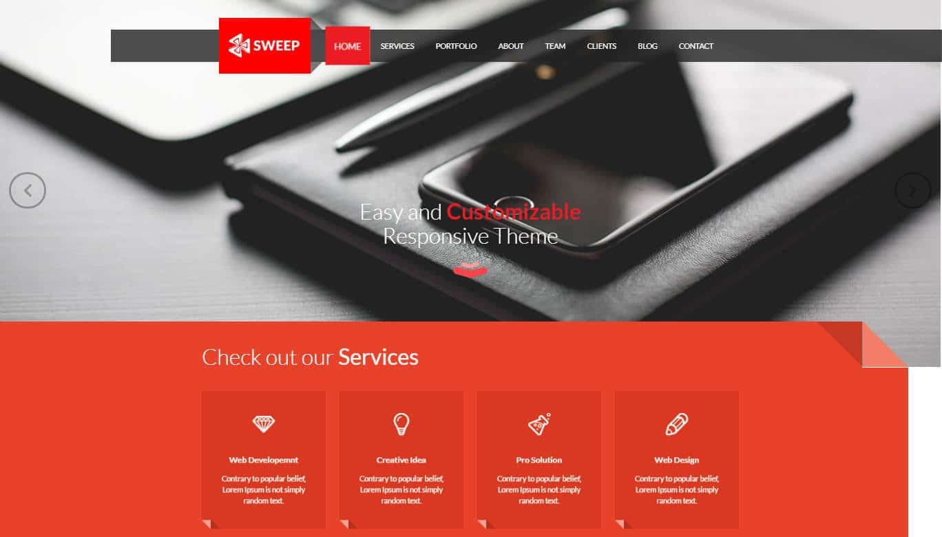 single page website template - sweep