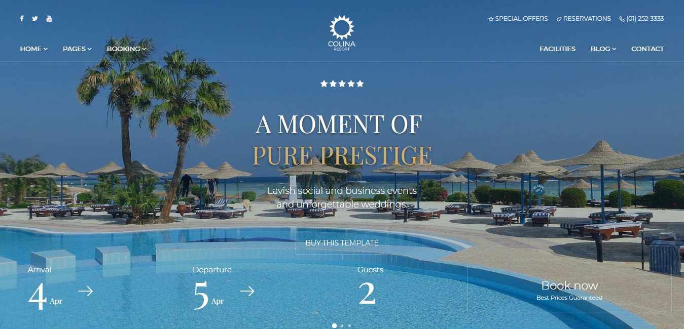 Colina Hotel Resort Accommodation Website Template