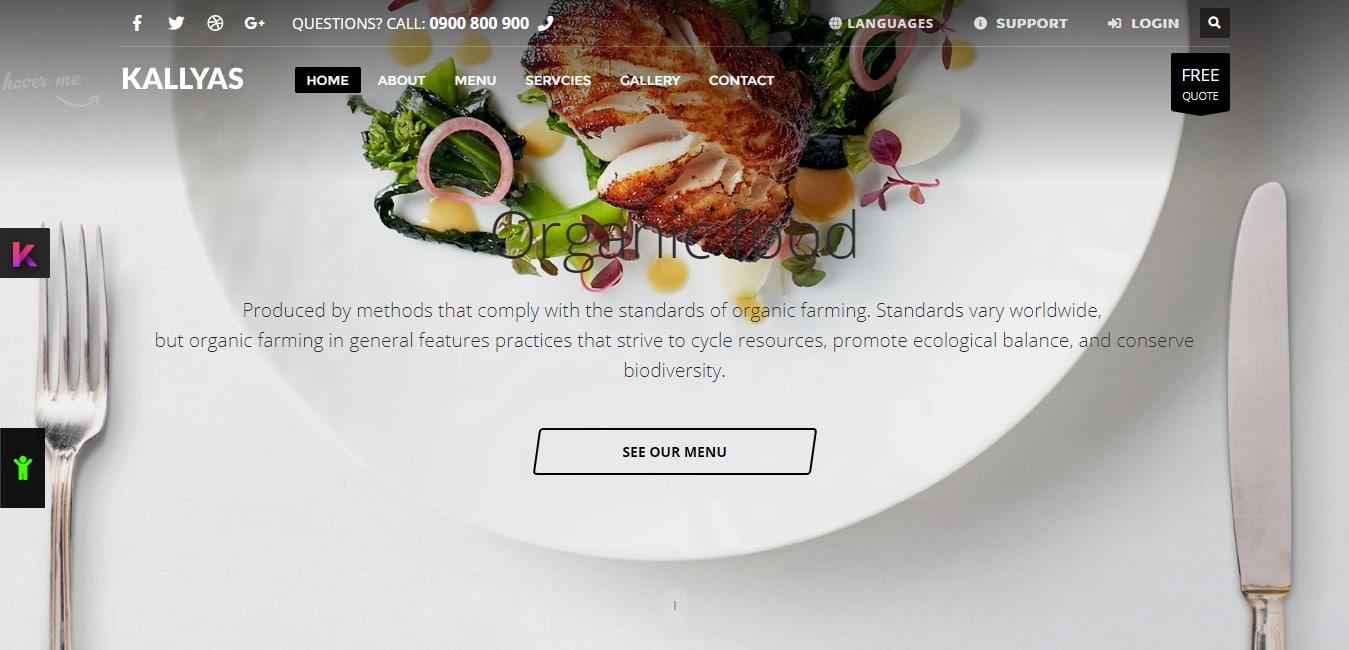Kallyas Gigantic Premium Template Restaurant Homepage