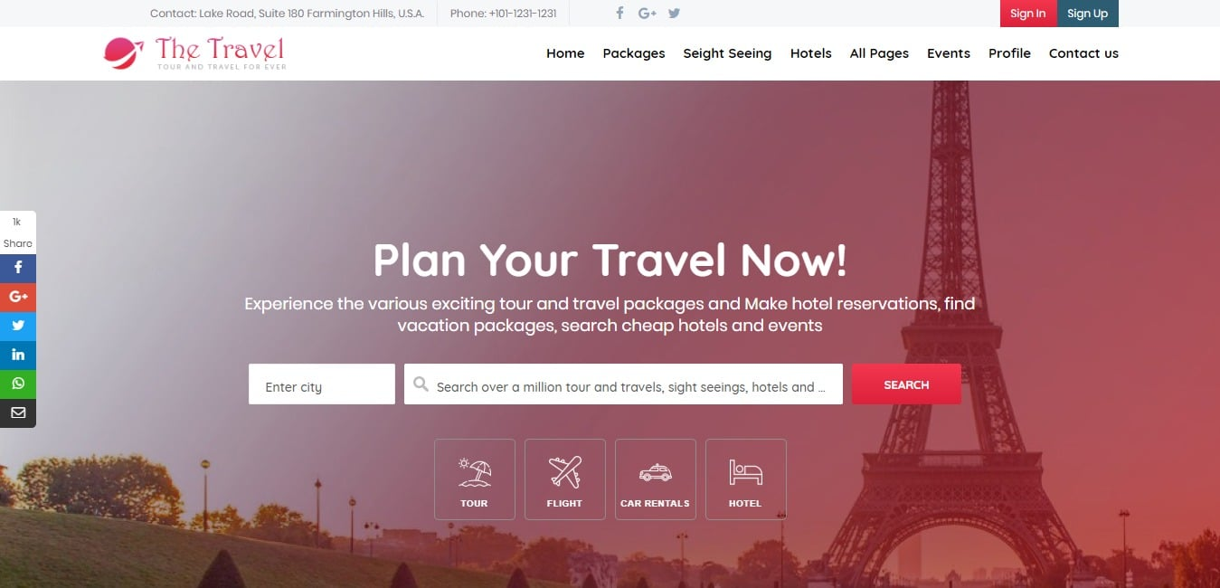The travel HTML travel site template