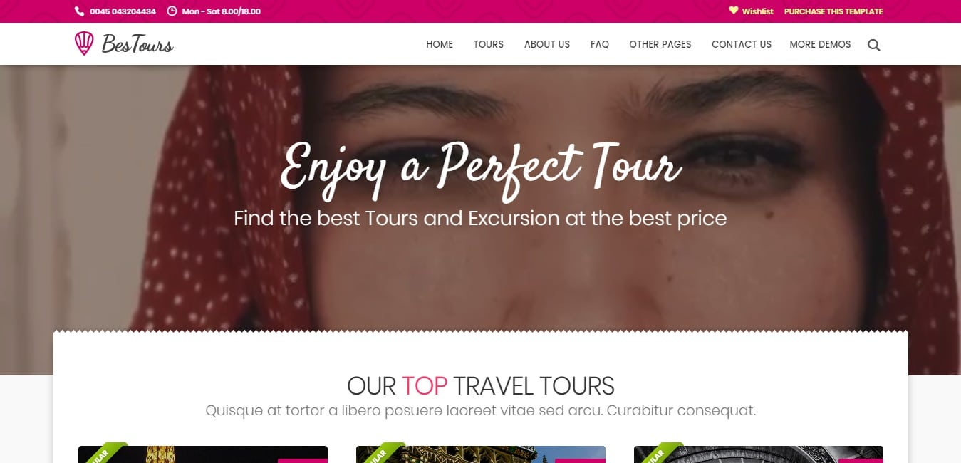 bestours HTML travel site template