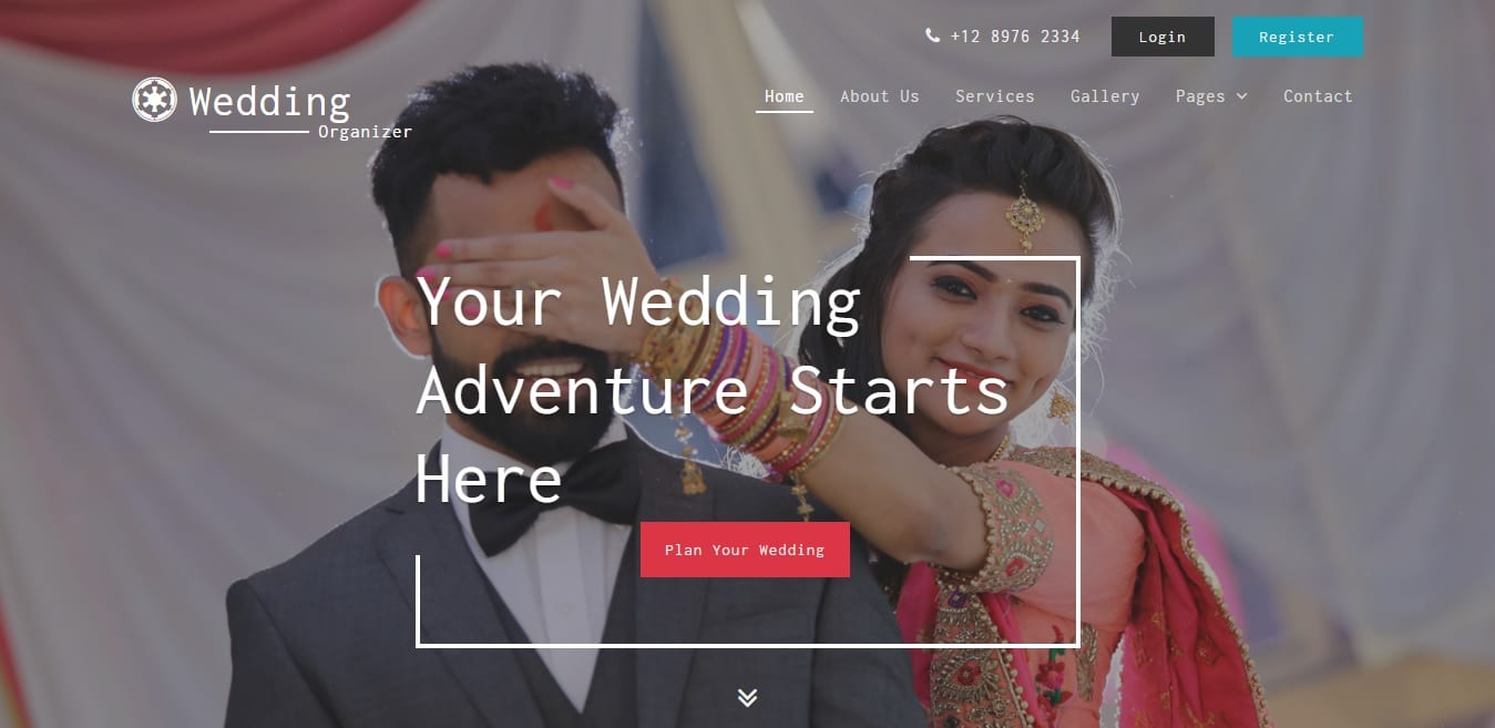 wedding organizer wedding website template