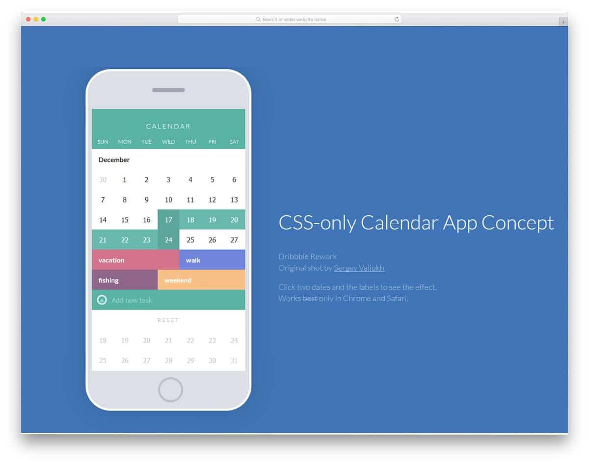 CSS-only-Calendar-App-Concept