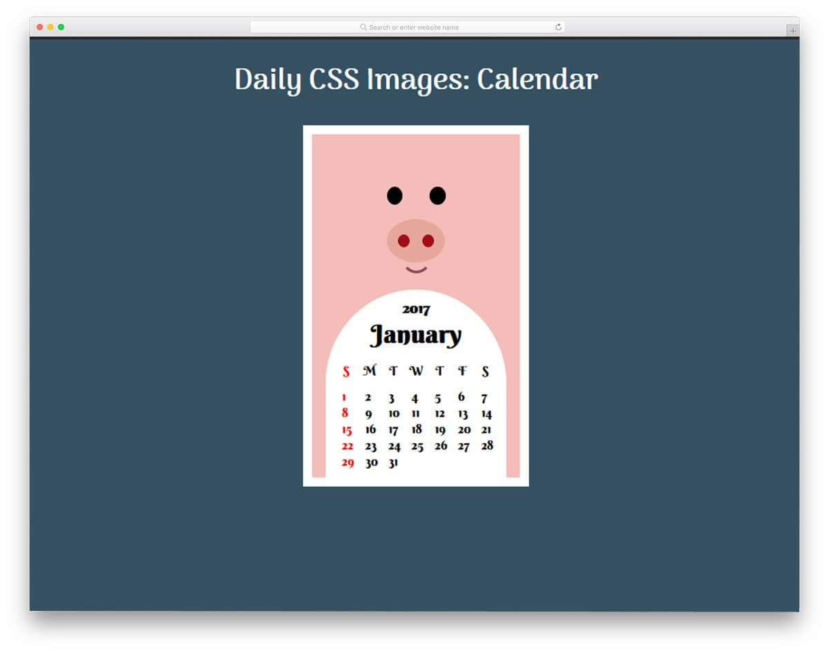Daily-CSS-Images-Calendar