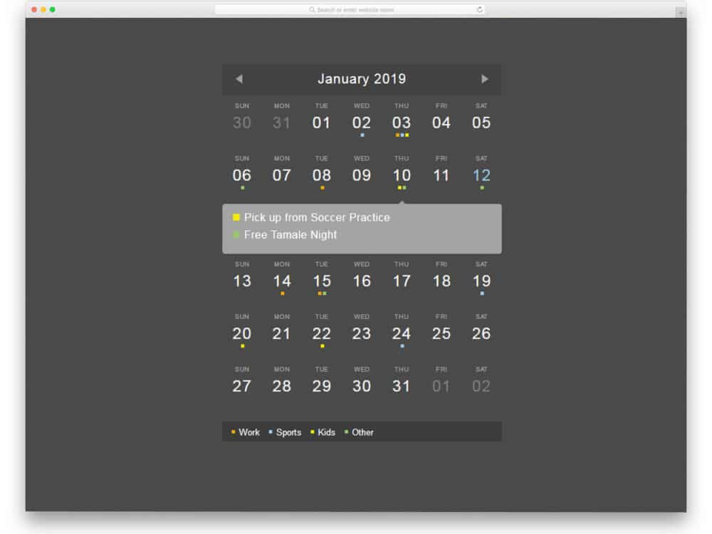 Script Calendario Html.25 Html Calendar Designs To Easily Organize Goals And Events