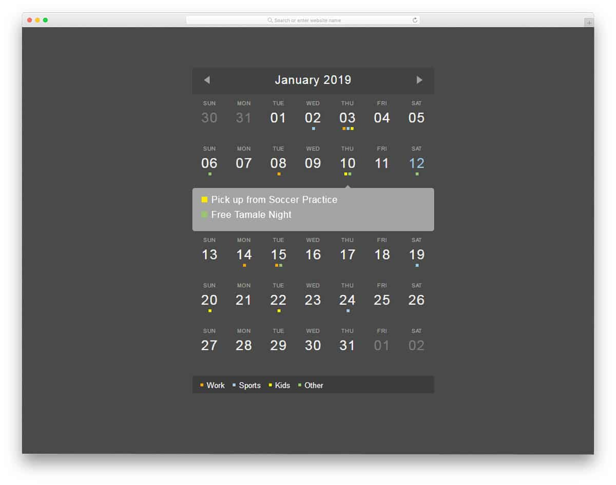 25 HTML Calendar Designs To Easily Organize Goals And Events