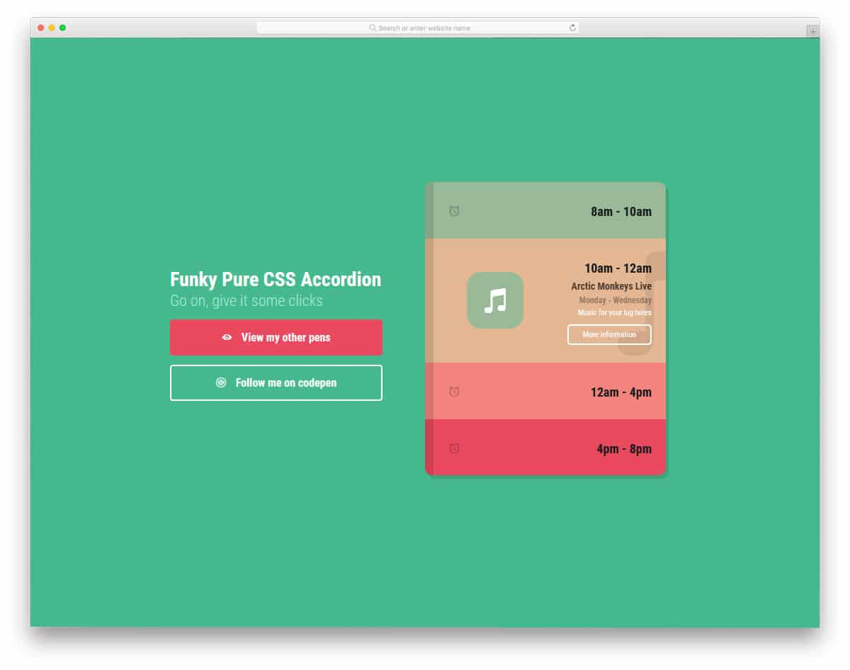 Funky-Pure-CSS-Accordion