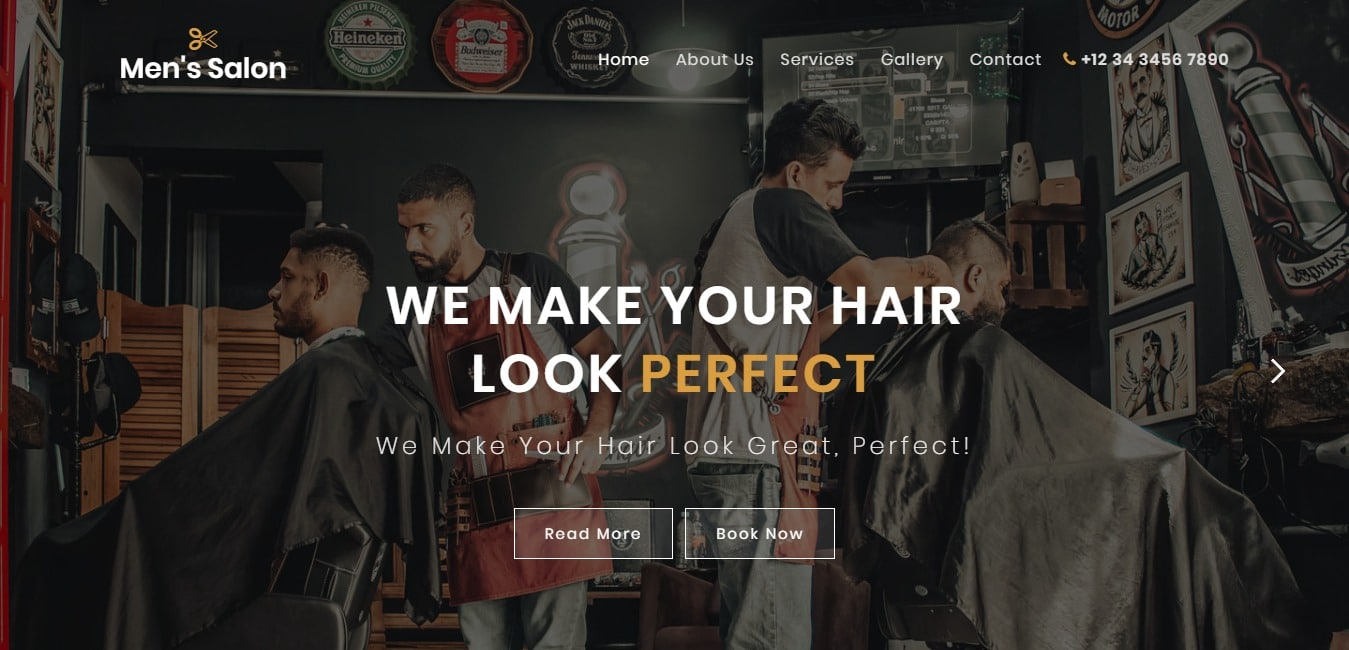 Men s Salon Beauty Bootstrap Web Template