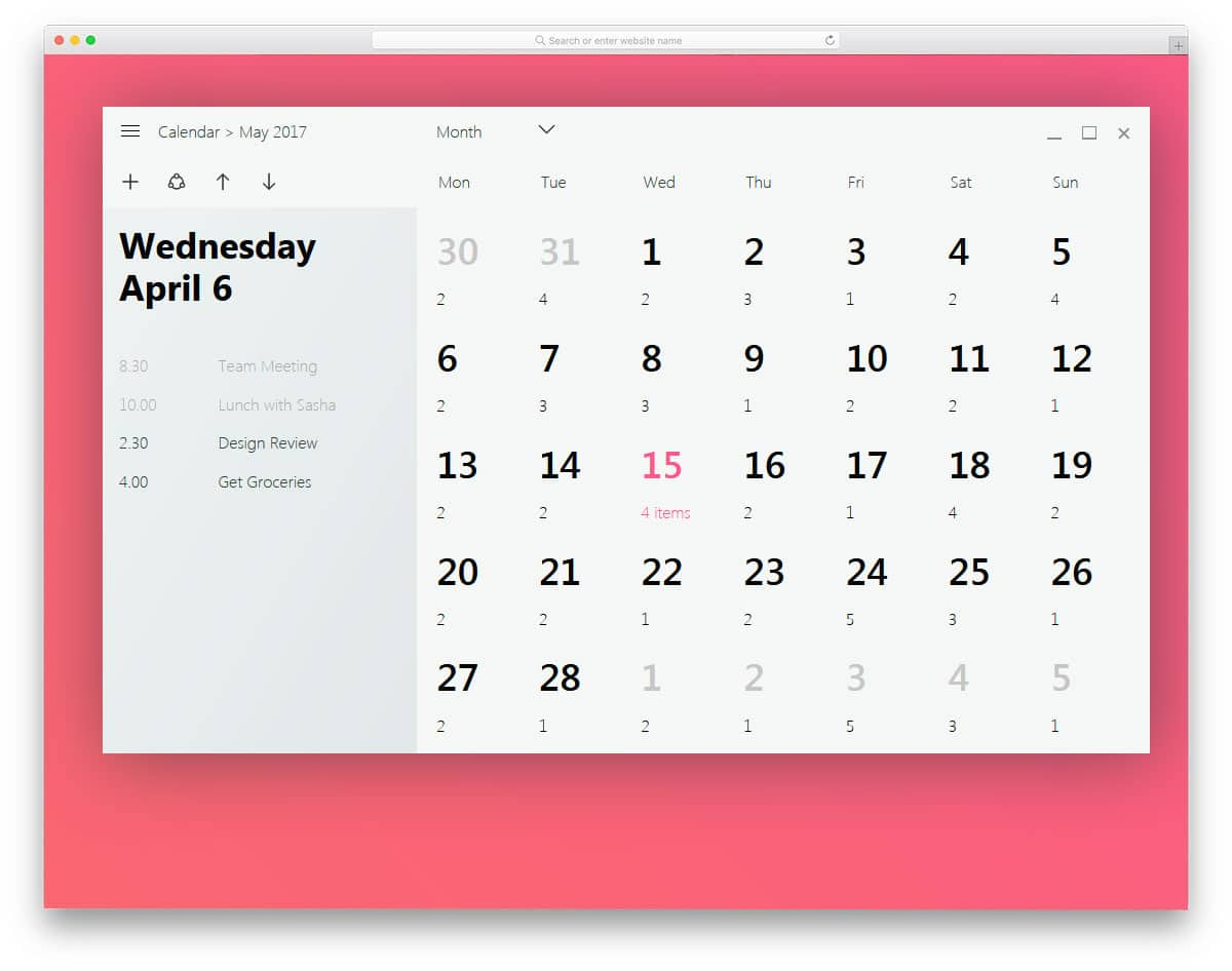Windows-Fluent-Design-Calendar