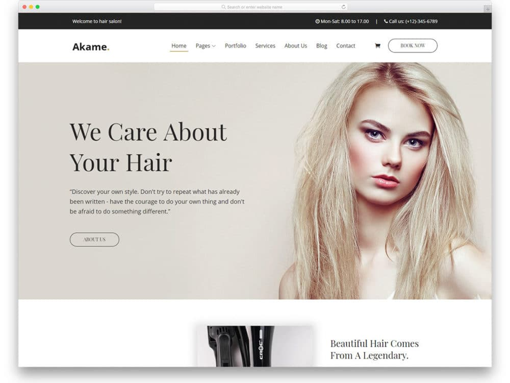 akame-free-hair-salon-website-templates