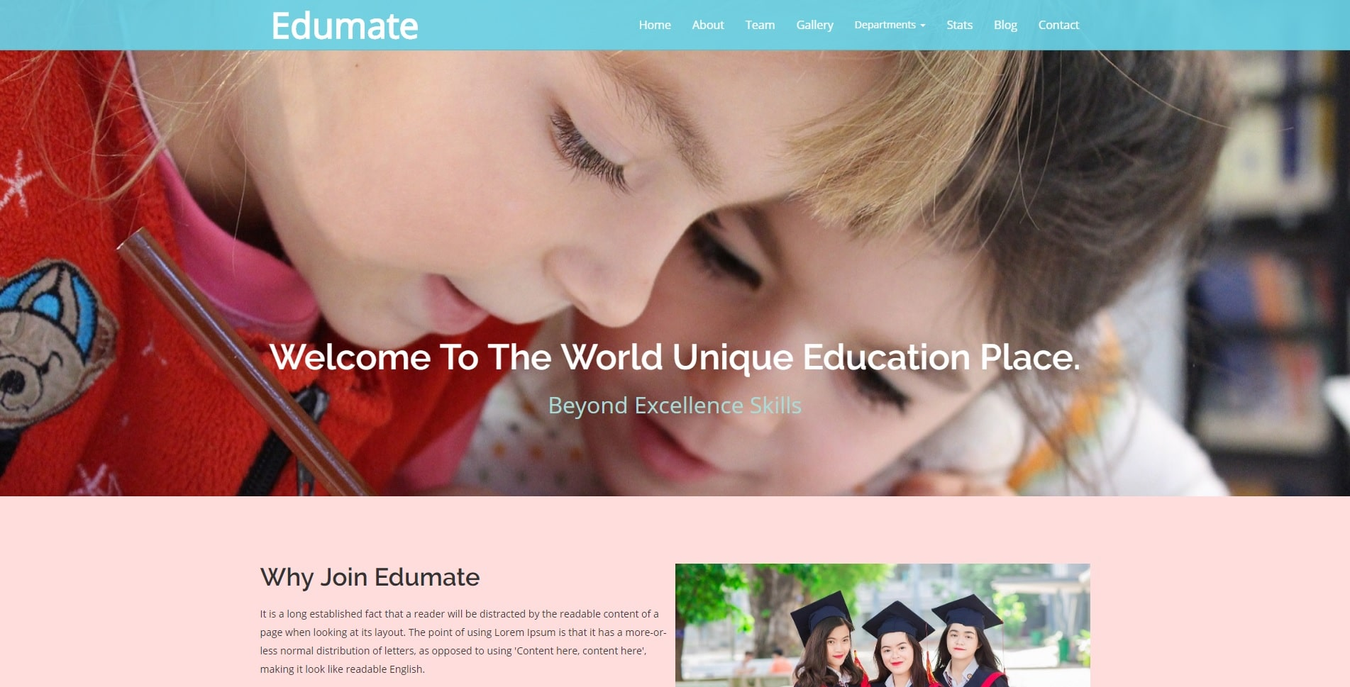 edumate free kindergarten website template