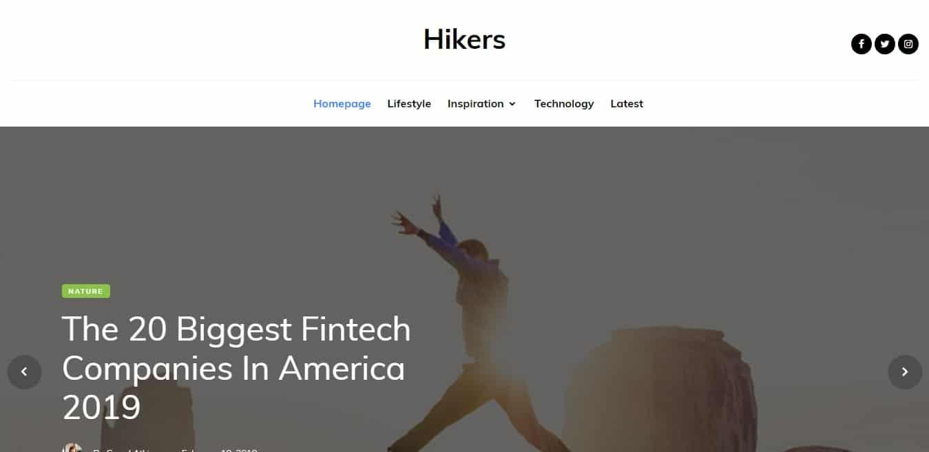 hikers free simple website template