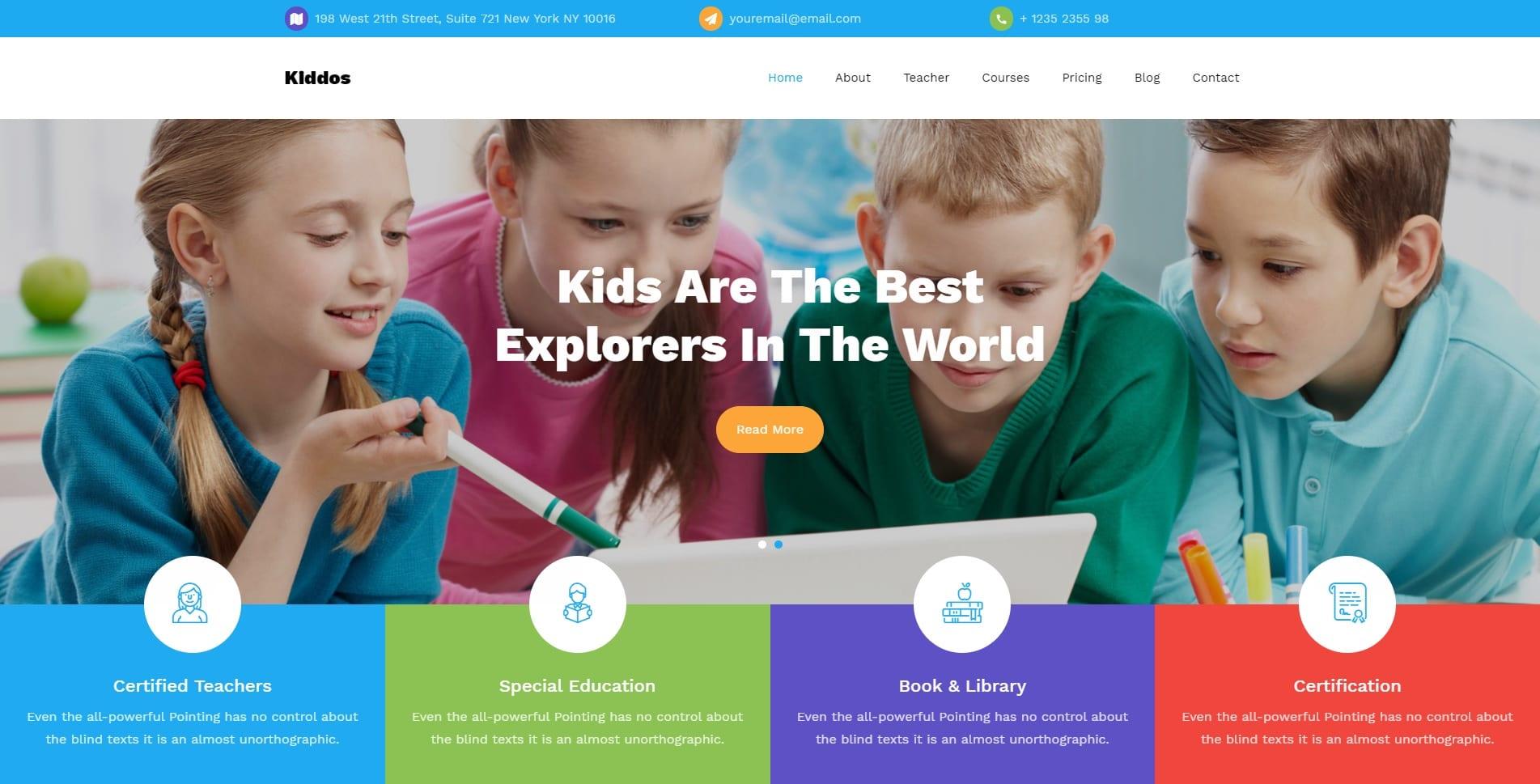 kiddos free kindergarten website template