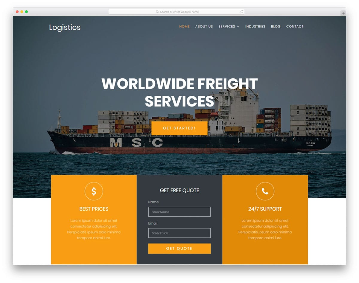 logistics-free-transportation-template