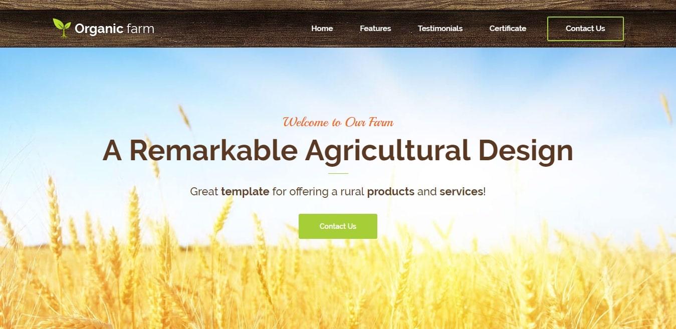organic farm agriculture website template