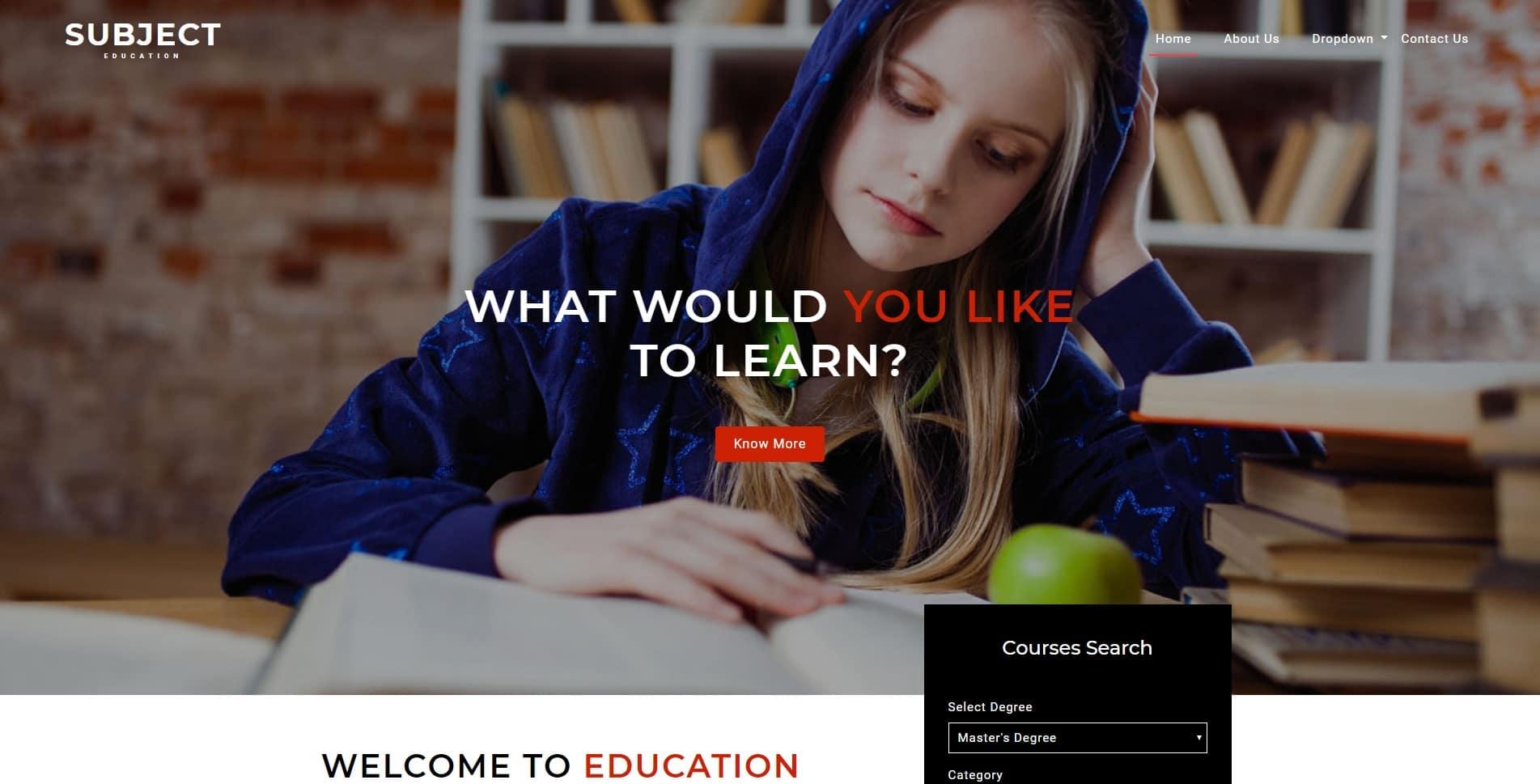 subject free kindergarten website template