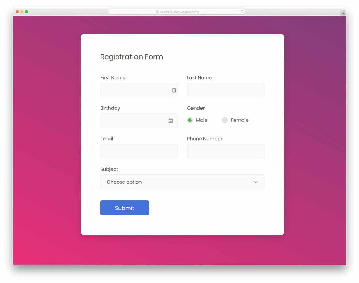 input boxx css design for registration form