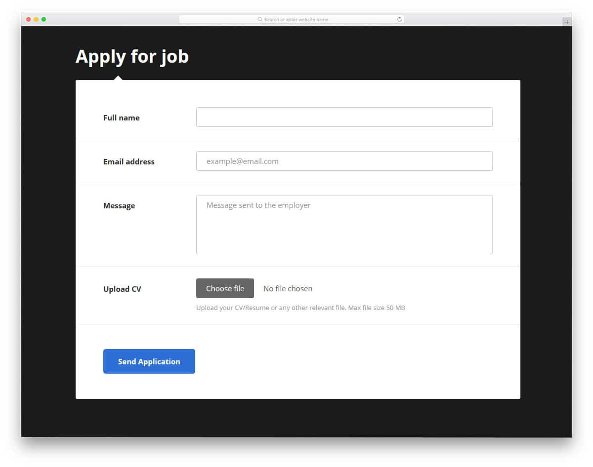 css input box design for job application form