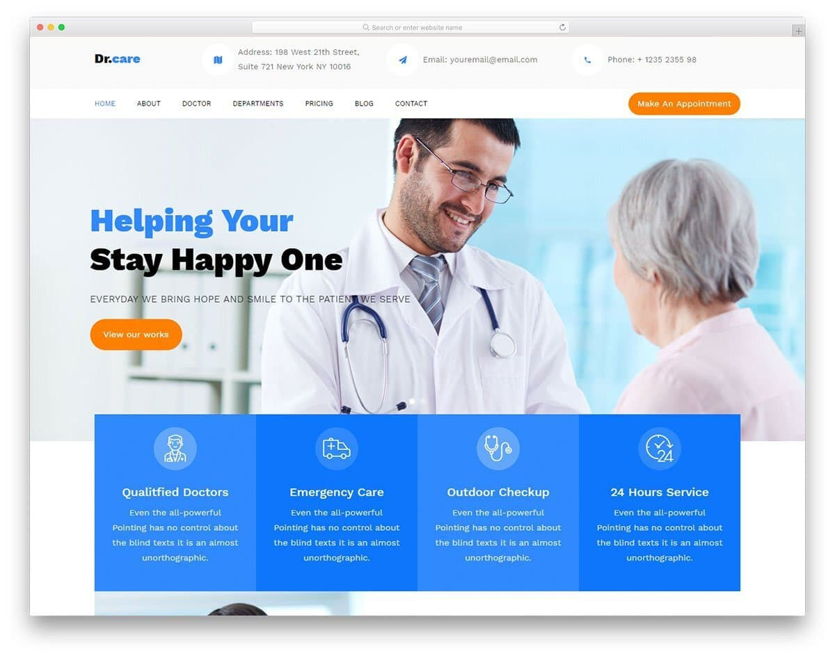 free hospital templates with one-page design