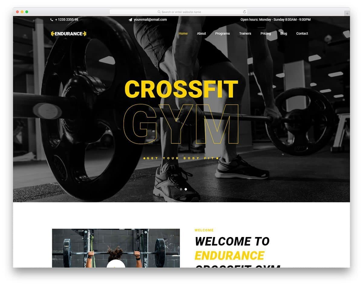 fitness website with responsive design