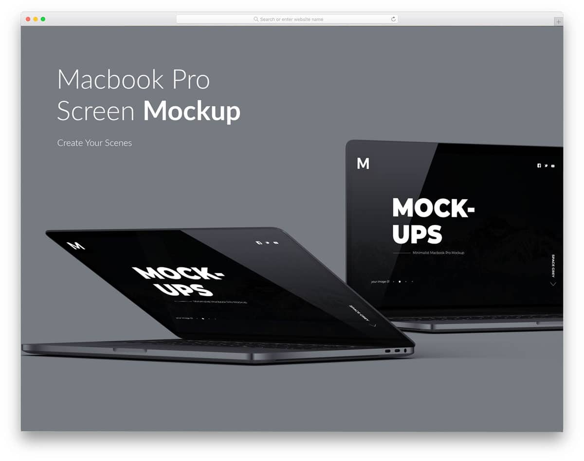 macbook mockups to present your website screen or application screens
