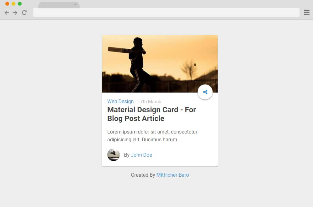 Material Design Card For Blog Post material design cards