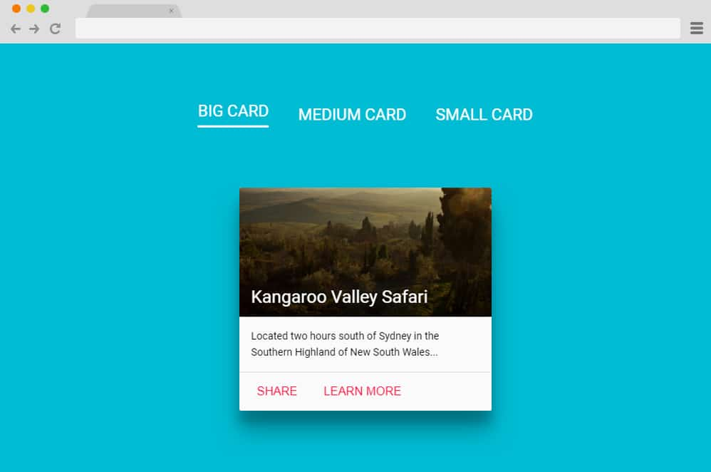 Material Design Cards in 3 Sizes material design cards