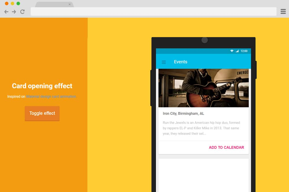 Material Design Opening Effect material design cards