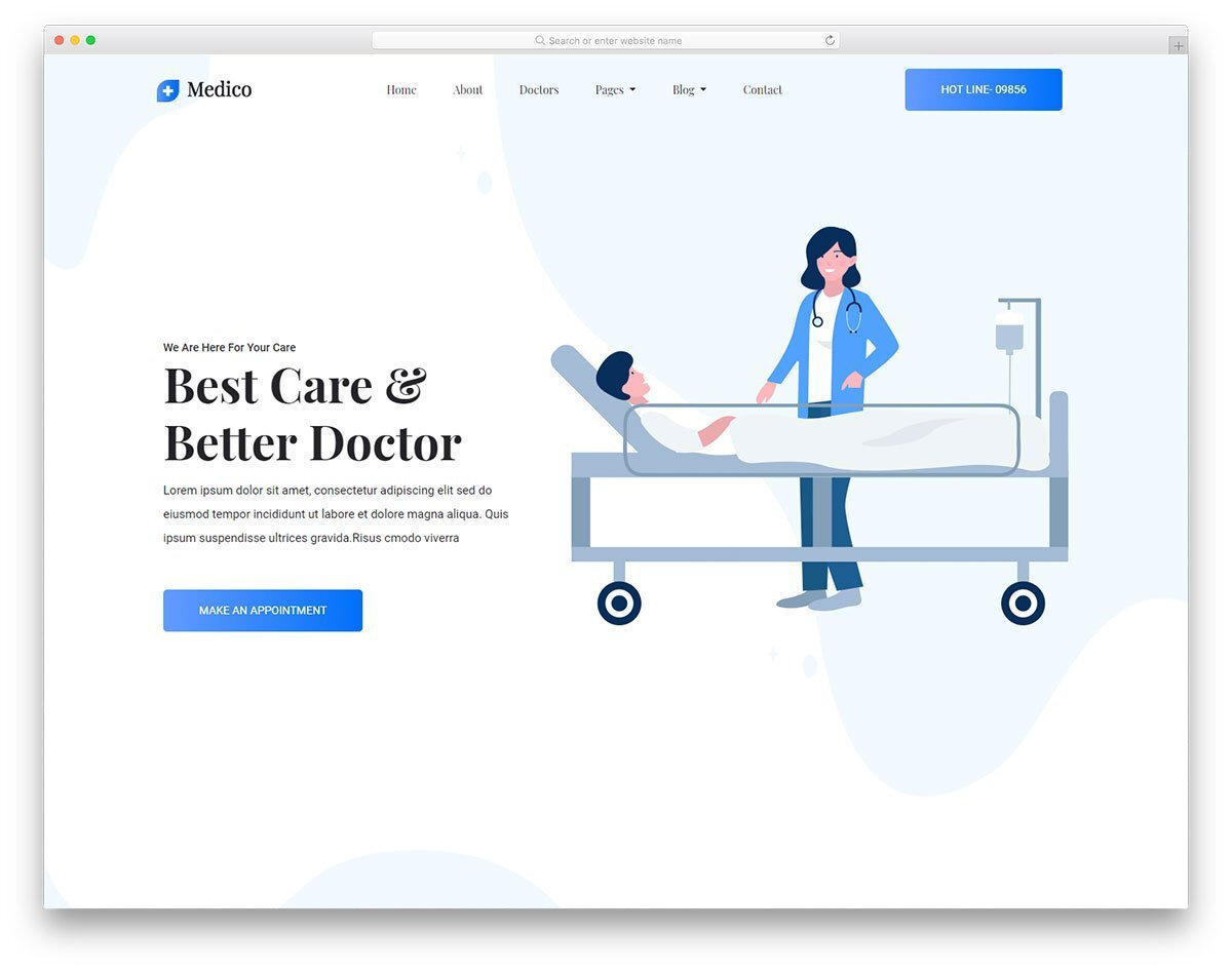 contemporary style medical website template