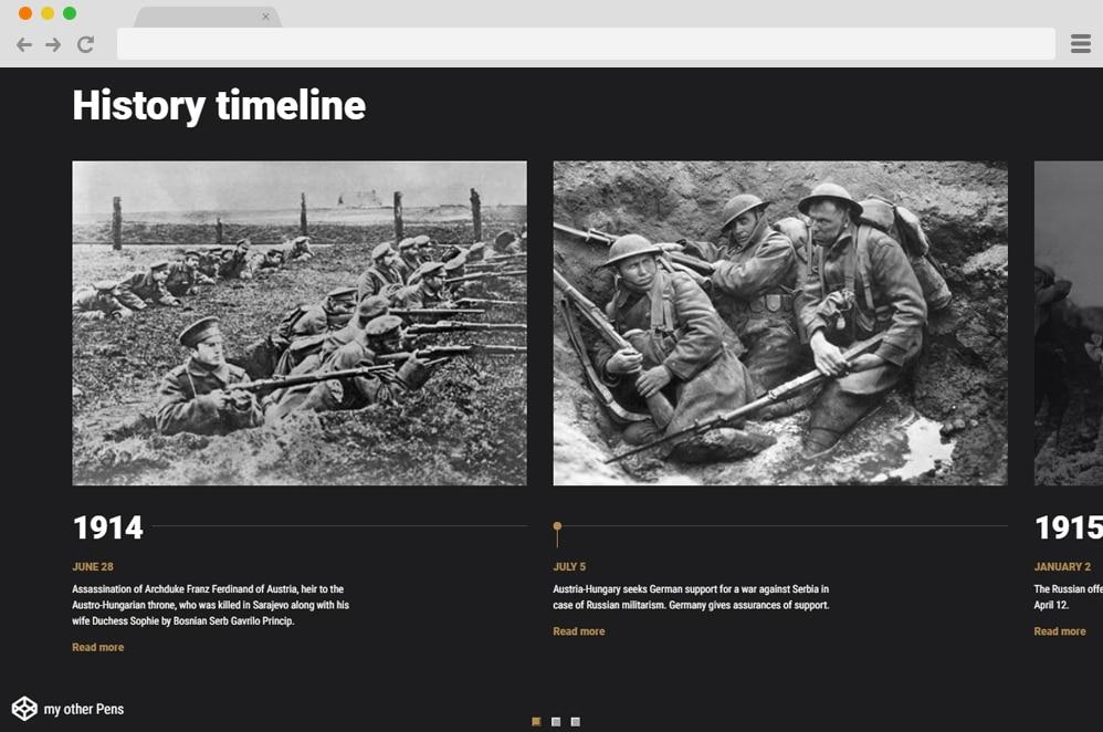 Responsive History Timeline Horizontal Timeline
