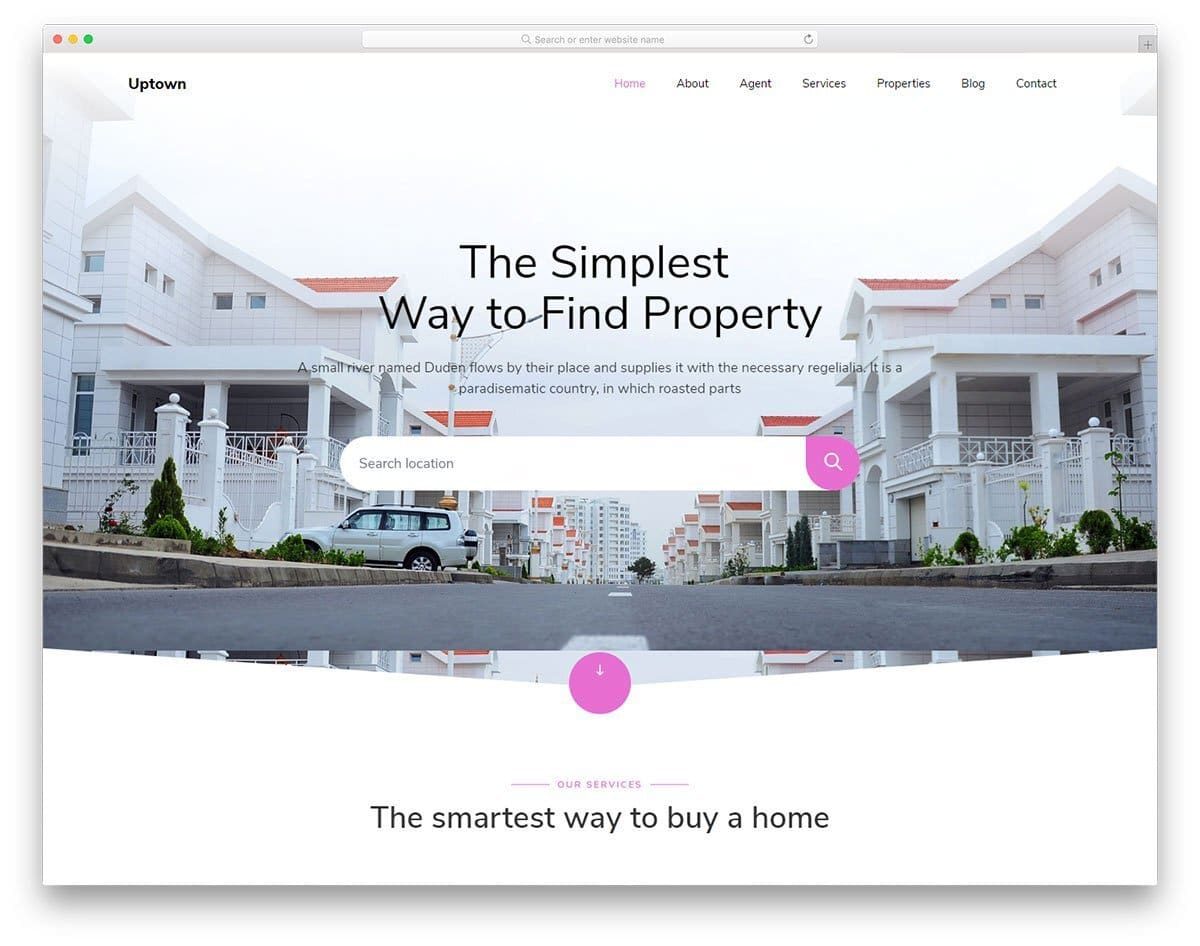real estate website template with responsive design