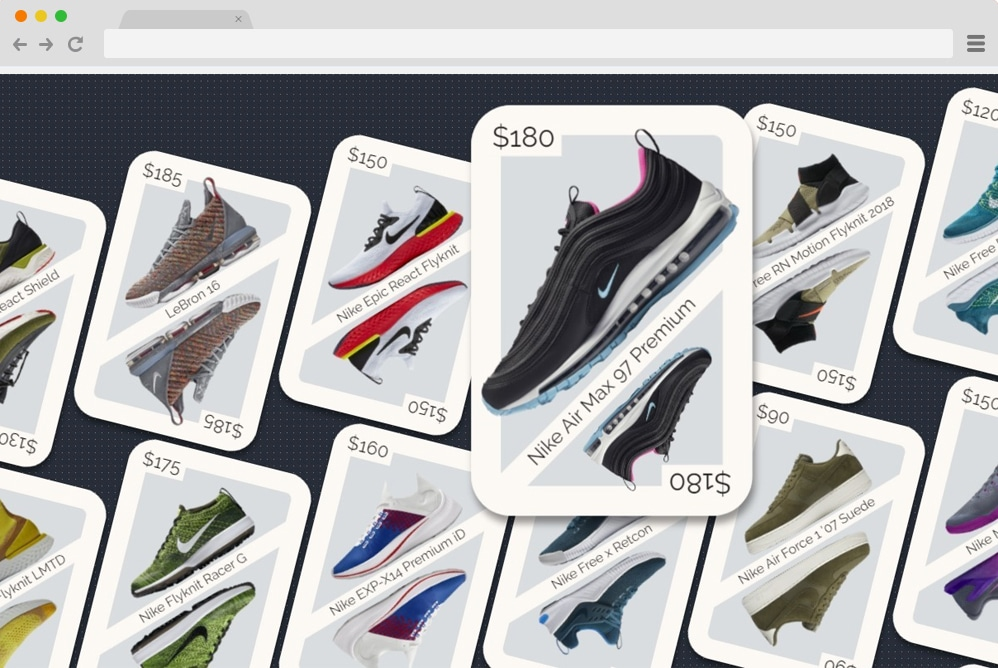 playing card CSS grid eCommerce layout