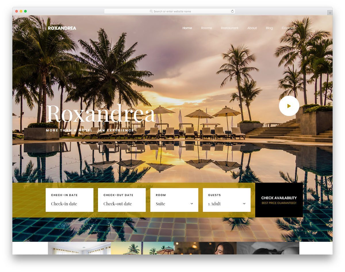 responsive website template for hotel websites