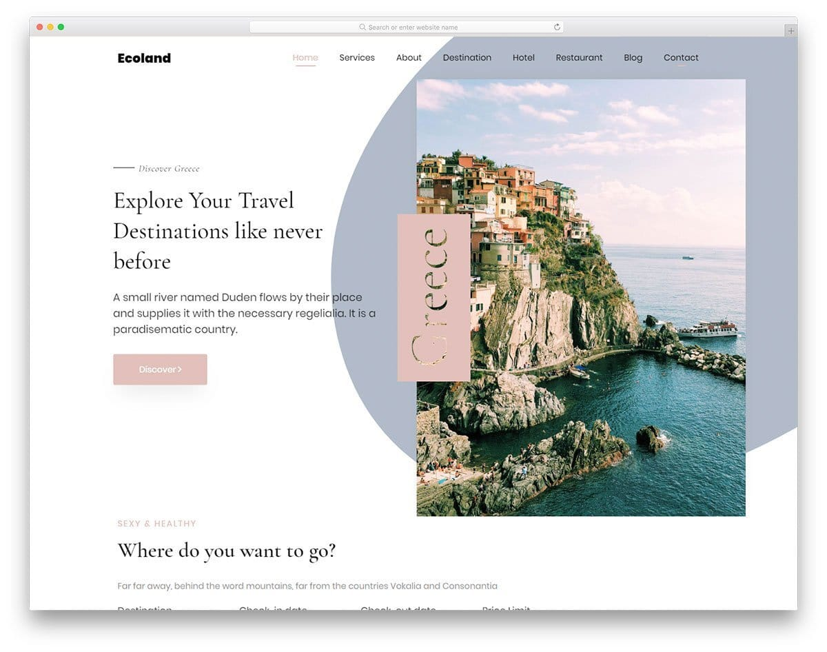 creative one-page travel website template