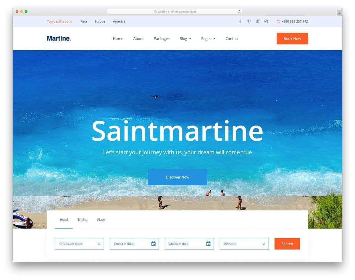 user-friendly travel website template