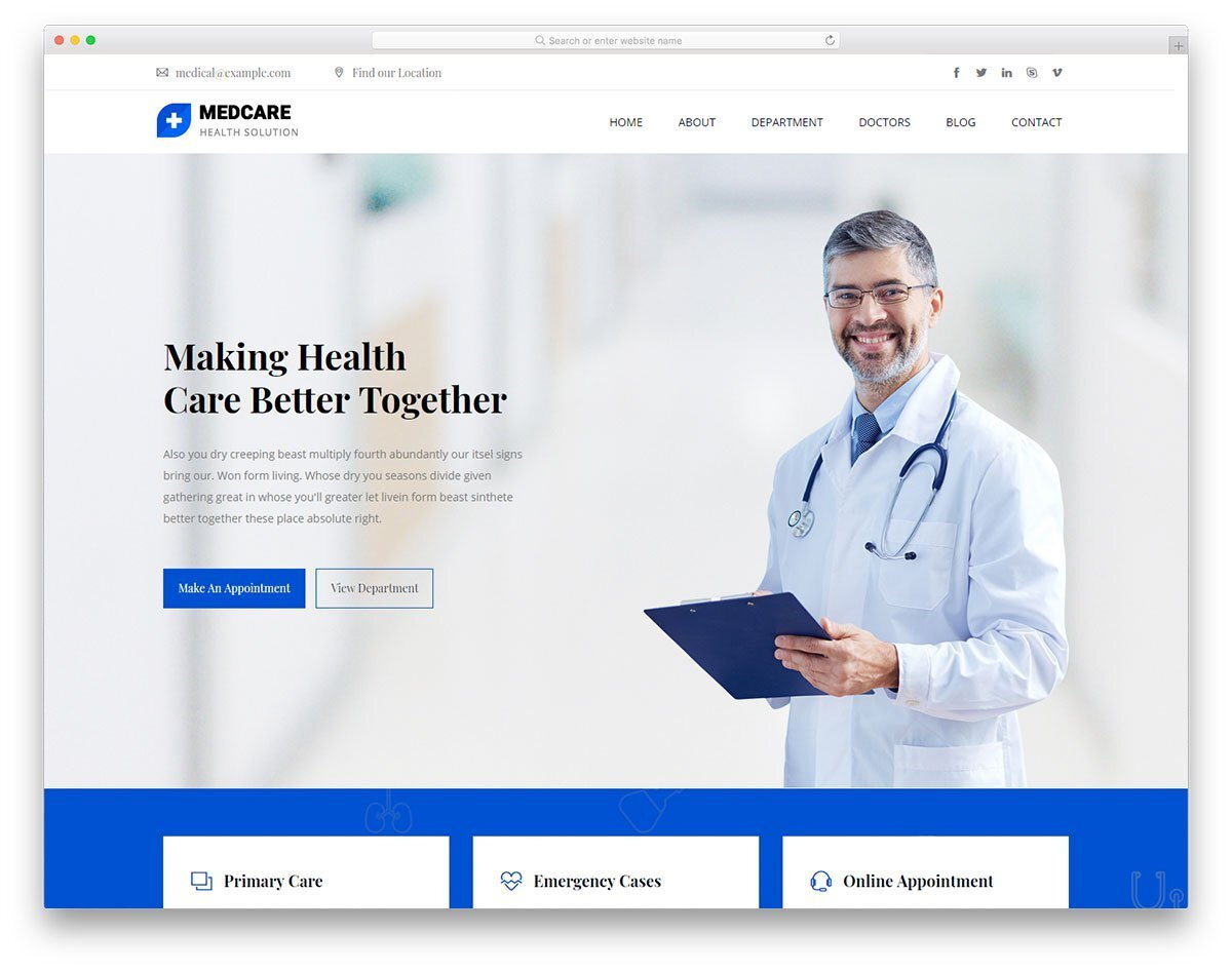 professional looking medical website template