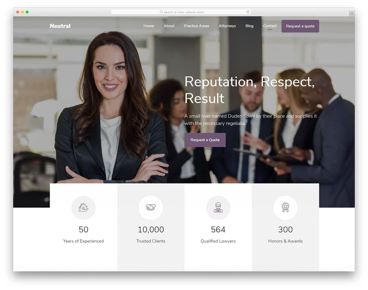 one page website template for law firms