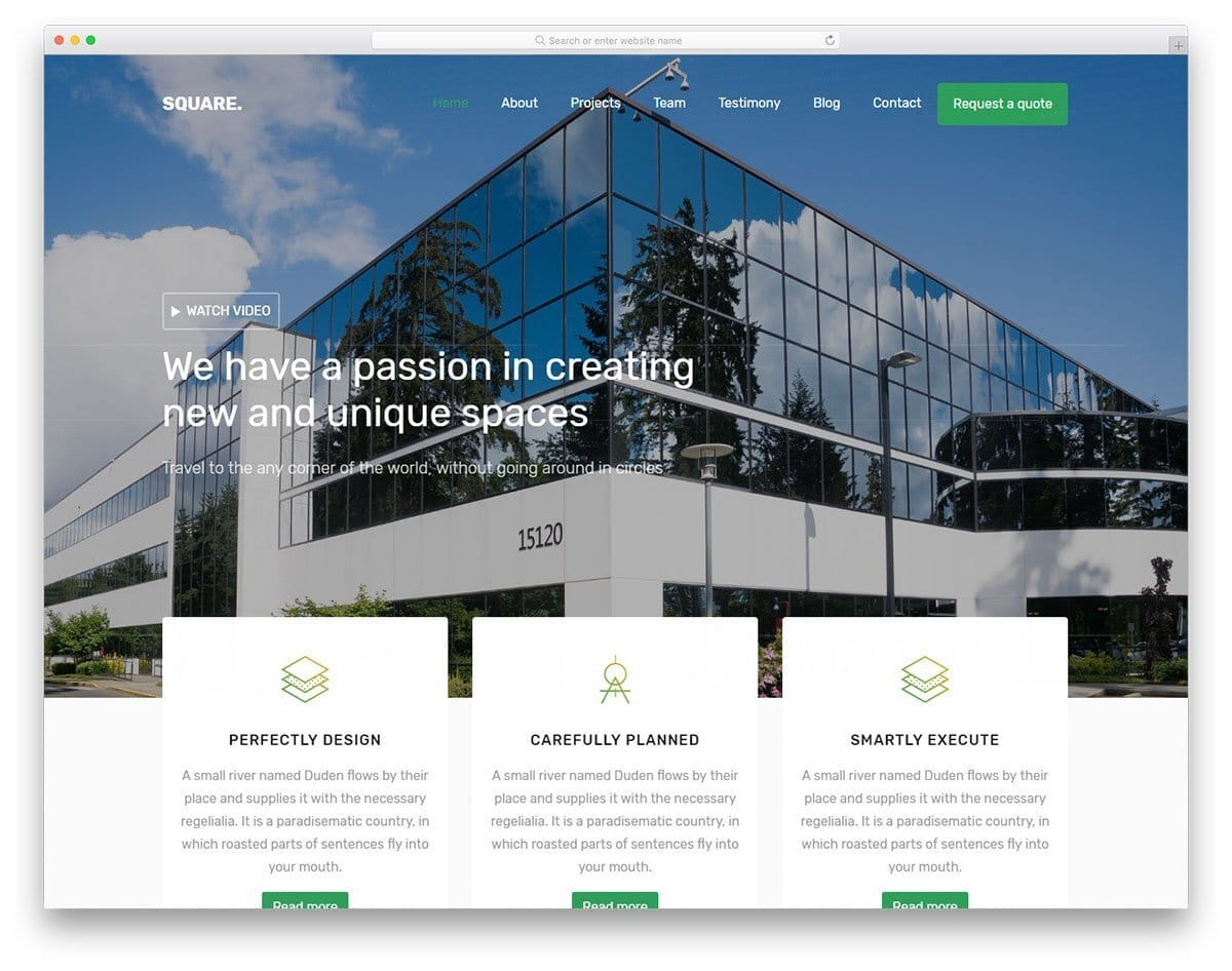 professional looking one-page template for architect and construction website