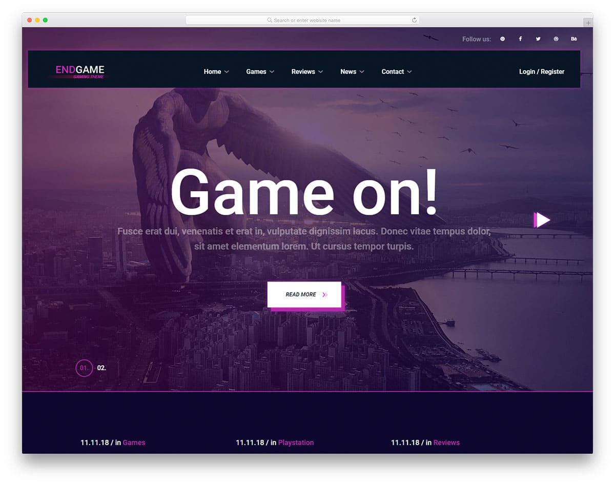 endgam-free-gaming-website-templates