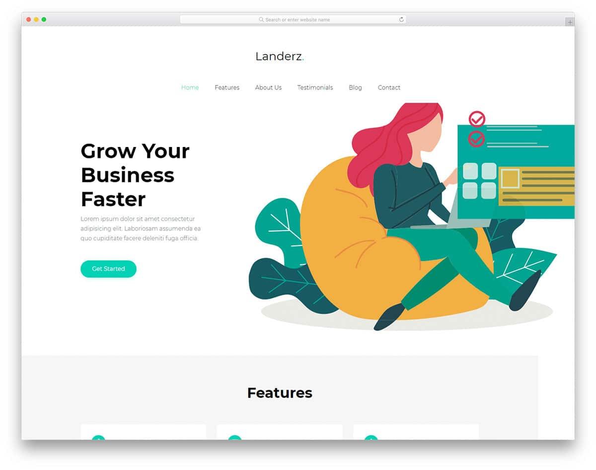 landerz-free-startup-website-templates