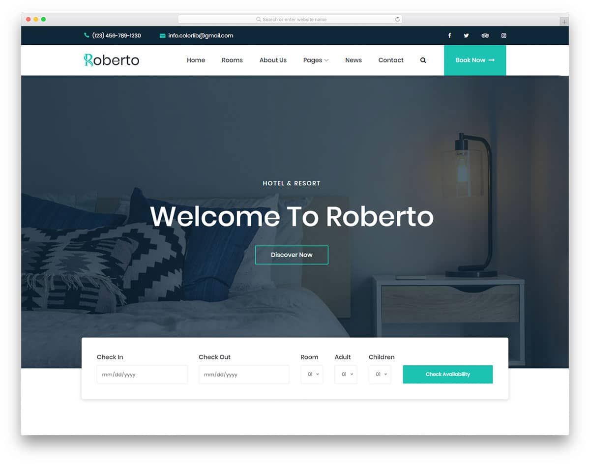 23 Best Free Hotel Website Templates Built For Modern Businesses 2019